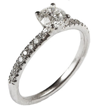 Diamond Engagement Ring,  18K White Gold, with Diamonds on the Sides