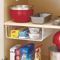 White Under The Shelf Cabinet Rack Kitchen Organizer Basket Storage Bin Pantry