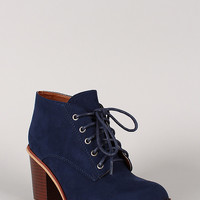 Qupid Suede Round Toe Lace Up Oxford Bootie