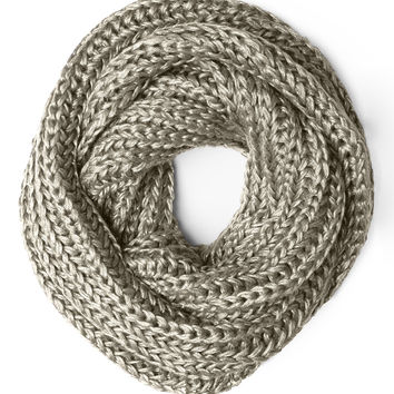 LE3NO Womens Metallic Glitter Infinity Loop Knitted Scarf