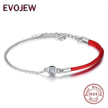 EVOJEW New Arrival 925 Sterling Silver Chain Bracelet with Red Thread Rope Petite Crystal Lucky Day Bracelet Jewelry Accessories