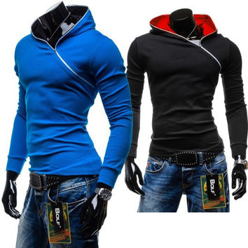 Winter Men Zippers Pullover Hats Hoodies Tops Jacket [6528747523]