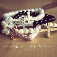 Beaded Cross Bracelet in VariousColors Choices