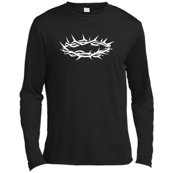 Christian Shirt - Jesus Crown of Thorn Good Friday & Easter Long Sleeve Moisture Absorbing Shirt