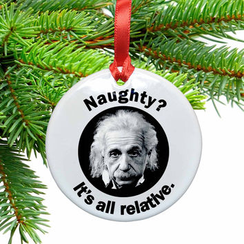 Einstein and Relativity Geek Christmas Ornament