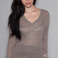 Teen Bell Knit V-Neck Pullover Top With Pattern Striping - Gray