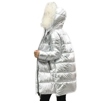 Fur Collar Silver Women's down jacket Women's mid-Length silver down jacket Warm Coat for Women High Quality Hooded Jacket Hot