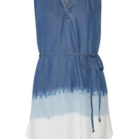 Splendid - Dégradé washed-denim mini dress