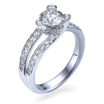 Platinum Tension Set Solitaire Engagement Ring Pave Set - 1ct Diamond
