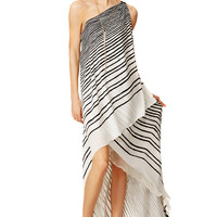 Halston Heritage Draped Stripe Maxi Dress