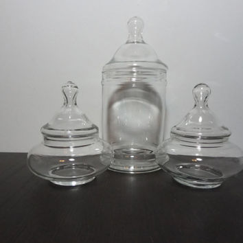 Vintage Set of 3 Clear Glass Apothecary Jars, Storage/Display Jars, Terrarium Jars