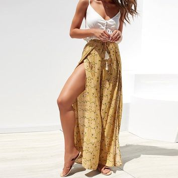 Yellow Split Floral Wide Leg Pants