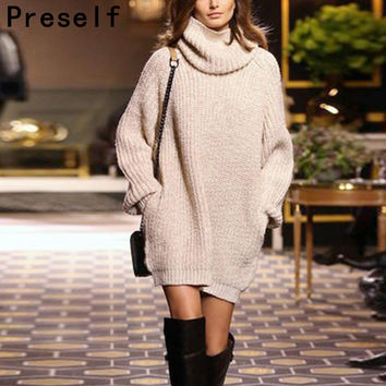 Autumn Winter Women oversized Jumper Long Sleeve Female fall Turtleneck Knitwear Knitted Sweater Dress vestidos