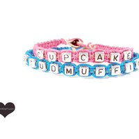 Cupcake Studmuffin Couples Bracelets Pink Blue Set of 2