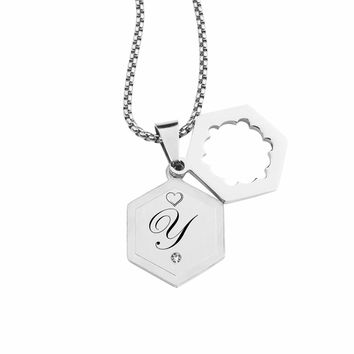 Double Hexagram Initial Necklace With Cubic Zirconia By Pink Box - Y