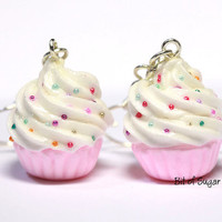 Pink Cupcake Earrings with Rainbow Sprinkles - Cute, kawaii fake miniature food jewelry