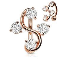 Reverse Four Cz Vine Top Down Rose Gold Plated Navel Ring Clear 4 Gem Elegant Vine Reverse Belly Navel Ring