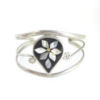 Vintage Alpaca Mexico Silver Cuff Bracelet Abalone Shell Flower Christmas Gift For Her