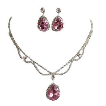 Light Pink Statement Teardrop Bridal Bridesmaid Necklace Earring Set Silver Tone