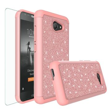Alcatel A30 Case, Kora Case, Glitter Bling Heavy Duty Shock Proof Hybrid Case with [HD Screen Protector] Dual Layer Protective Phone Case Cover for Alcatel A30 - Rose Gold