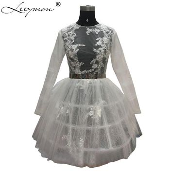 WDZ-305 White Skirt Silver Sash Robe Cocktail Dress 2017 Short Lace Party Dresses Voile Mini Dinner Gowns Junior Prom Dresses