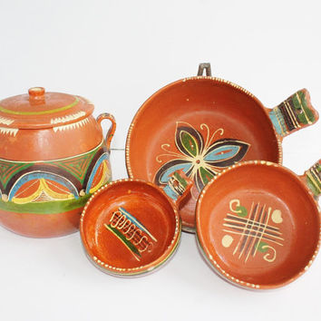 Fabulous 1940s Mexican Pottery Set / Redware Tlaquepaque / 1 Lidded Pot, 3 Handled Bowls (S, M, L) / Hand-Painted Glazes / Made in Mexico