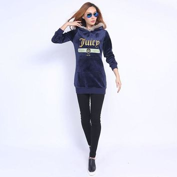 Juicy Couture Fw2017 Velour Jacket 2pcs Studded Exquisite Juicy Logo Women Hoody Navy Blue - Ready Stock
