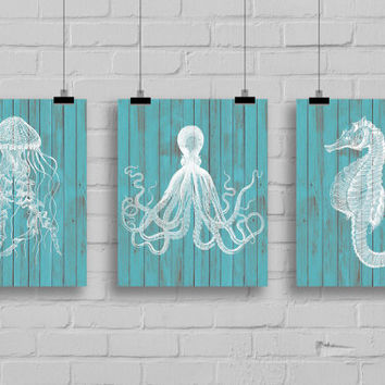 Sea Life Art Print Set - Jellyfish Art - Sea Horse Art - Octopus Art - Nautical Decor - Wall Art