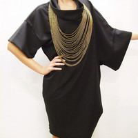 Black Asymmetric Day Dress / Black Extravagant Party Tunic / Plus Size Dress