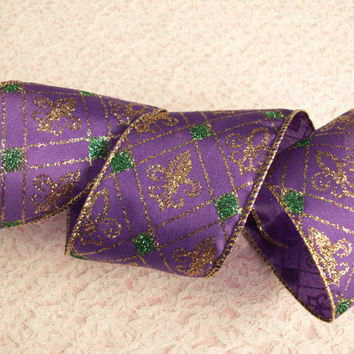 "Mardi Gras Ribbon, 2 1/2"" Wide, Wired Edge, Purple and Green with Gold Fleur De Lis, Wreaths, Door Hangers, Ribbon Decorations, 3 YARDS"