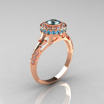 Modern Antique 14K Rose Gold Aquamarine Diamond Wedding Ring, Engagement Ring R191-14KRGDAQQ