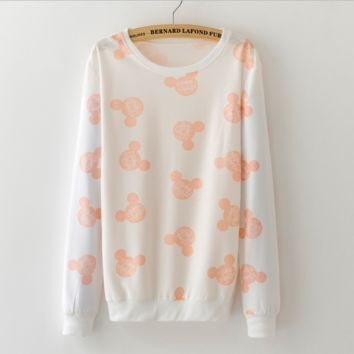 The new hedge printing fashion cute casual sweater Mickey Mouse