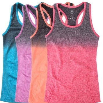 New Womens Gradient Color Yoga Shirts Running Elastic Breathable Fitness Shirt Vest Ladies Double Movement Tank Top for Woman [8069648967]