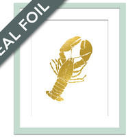 Lobster Art Print - Gold Foil Print - Nautical Wall Decor - Kitchen Art - Lobster Poster - Cottage Wall Art - Beach Decor - Gift for Chef