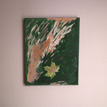 mixed media, green leaves painting, green wall decor, colorful painting, ooak wall hanging, sand art,