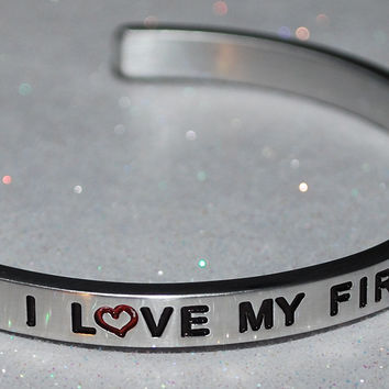 I Love My Firefighter Dad  |  Engraved Handmade Bracelet by: Say It and Wear It Jewelry