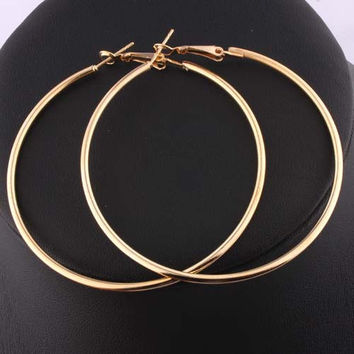 Stylish Hoop Earrings Women Nickel 18K Gold Plated Round Loop Celebrity Brand Office Party Gifts Bijoux Fashion Jewelry