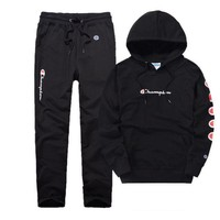 PEAPUF3 Champion Casual Pullover Hoodie Sweater Pants Trousers Set Two-Piece