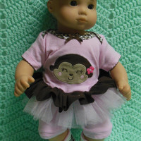 "AMERICAN GIRL Bitty Baby Clothes ""Monkey Face"" (15 inch) doll outfit dress, leggings, booties socks, and headband hearts animal print monkey"