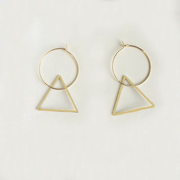 Gold Silver Triangle Circle Alloy Hoop Earrings