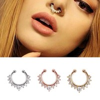 Fake Septum Ring alloy hoop nose ring nose piercing fake piercing septum clicker numbers hanger for jewelry