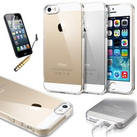 Classy Autos Ultra Thin Transparent Crystal Clear Soft Gel Case for iPhone 5 / 5S (Clear + Clear)