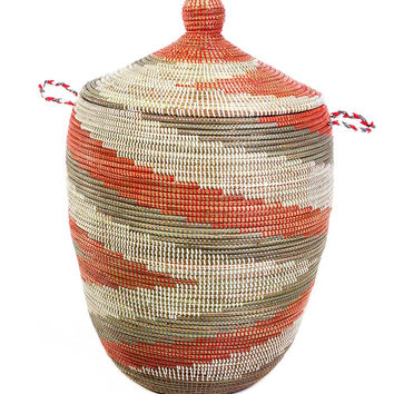 "27"" African Basket with Lid - Red Arrow"