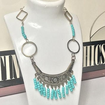Vintage Bohemian Beaded Fringe Bib Necklace / Silver tone & Turquoise Seed Bead Statement Necklace / Bold Blue Beaded Boho Tassel Necklace