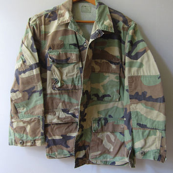 Vintage 80s US Camo Military Jacket Shirt Camouflage Hunting S