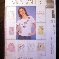 Misses' Tops Stretch Knits Only T-Shirt Size L-XL McCall's 3655 Sewing Pattern Uncut