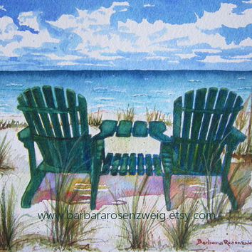 Beach Painting, Beach Chair Art Print Painting, Ocean Seashore Adirondack Chair Watercolor Tropical Beach Home Decor Gift Barbara Rosenzweig