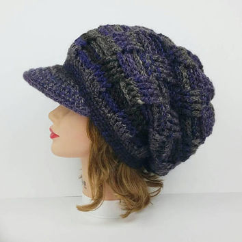 Crochet Visor Hat - Slouchy Beanie With Brim - Newsboy Hat - Purple and Gray Hat - Crochet Hat - Women's Hat - Men's Hat - Brimmed Beanie
