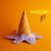 Felt ice cream cone brooch_ Oops! Blueberry ice cream_Textile brooch_Ice cream plush_Ice cream jewelry_Funny accessory_