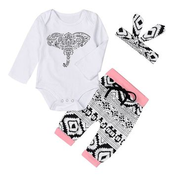 3Pcs Children Clothes Heaband+Tops+Bottoms Long Sleeve Tops Long Pants Cute Elephant Printing Children Garments For